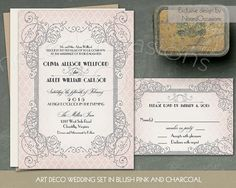 Art Deco wedding invitations. Inspired by an authentic Art Deco era, these great gatsby roaring 20's wedding invitations will add the perfect amount of glamor to your upcoming wedding.The Wedding rsvp response cards coordinate with Art Deco wedding invitations and look great for the great gatsby art deco wedding venues. This trendy great gatsby style wedding invitation and RSVP suite is perfect for weddings with a roaring twenties inspired bride to be at hand.