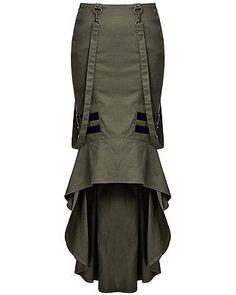 Punk Rave Military Skirt Green Black Goth Steampunk VTG Uniform Pencil Fishtail. Ebay.com