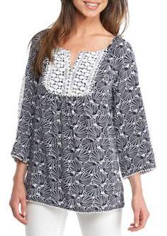 Crown  Ivy  NavyWhite Print Crochet Trim Peasant Blouse