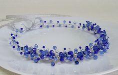 Bridal Royal Blue Crown,Bridal Headpiece,Blue Crystal Tiara,Hair Accessories,Wedding Headband,Blue Crystals Wreath by Cyshell