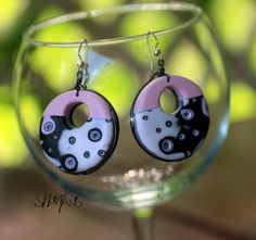 Pink Hoop Polymer Clay Earrings  WEARABLE ART by shankas on Etsy, $18.00