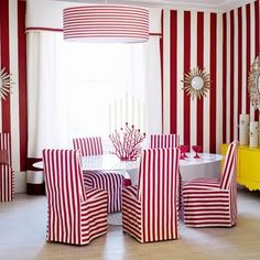 Furniture : Red White Striped Dining Room Chairs Modern Design of the Striped Dining Room Chairs Dining Room Ideas' Room Design Ideas' Modern Dining Room Furniture also Furnitures Room, Dining Room Colors, Red Dining Room, Dining Room Chairs Modern, Dining Room Wallpaper, Elegant Dining Room, Dining Room Decor Elegant, Dining Room Furniture Modern, Striped Walls