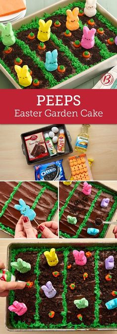 "An ordinary chocolate sheet cake gets transformed into an Easter garden scene with this creative recipe that is brought to life with Peeps! Bright orange and green frosting makes the carrots pop in their chocolaty ""dirt"" rows, while crumbled Oreos give th Easter Peeps, Hoppy Easter, Easter Brunch, Easter Treats, Easter Food, Easter Party, Brunch Party, Easter 2018, Easter Stuff"