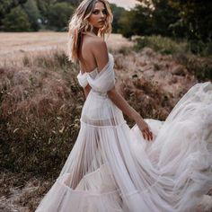 Glorious@musebybertaPictures@tali__photography #Berta #vakkowedding #bridal Off Shoulder Wedding Dress Bohemian, Tulle Dress, Boho Dress, Bridal Lace, Bridal Gowns, Bohemian Wedding Dresses, Special Dresses, Wedding Dress Sleeves, Queen