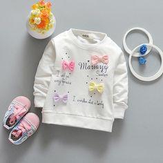 2017 Nueva Primavera Arco de Colores Bebés del Suéter de los Bebés de la Historieta de La Muchacha Ropa de Niño de Manga Larga T-Shirt Kids Casual Tops ss102