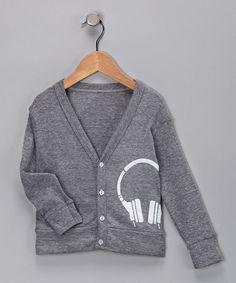 Take a look at this White & Gray Headphones Cardigan - Toddler & Boys  by Grubbie Style on #zulily today!