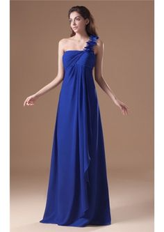One Shoulder  Zipper A-line Blue Sleeveless Floor Length Chiffon Ruched Bridesmaid Dresses