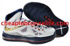 Nike Lebron X PS White Dark Blue Gold 541100 001