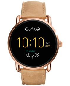 Fossil Women's Digital Q Wander Light Brown Leather Strap Smart Watch 45mm FTW2102