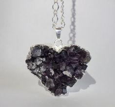 A petite silver edged heart shaped amethyst druzy pendant on a silver plated chain. Heart Shapes, Silver Plate, Amethyst, Chain, Pendant, Style Ideas, Gifts, Necklaces, Jewelry
