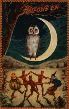 Hallowe'en Postcard with and Owl on a Crescent Moon, ca. 1909 | Flickr - Photo Sharing!