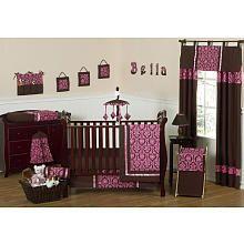 Sweet Jojo Designs Bella Pink Collection 11-Piece Crib Bedding Set
