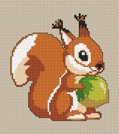 Cute Squirrel, free cross stitch pattern from Alita Designs
