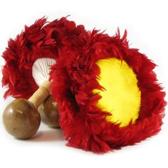 Handmade Hawaiian Uli uli set of 2. Dancer quality. Red and yellow feather cap. The lower section of the uli uli is made from the laamea gourd. Used in performing auana and kahiko hulas. Aloha!