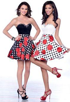 Karishma Creations party dress with sweetheart neckline and floral polka dot skirt. #KarishmaCreations