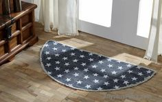 Multi Star Navy Rug Cotton Half Circle/ Like us on Facebook! www.facebook.com/allysonsplacedecor / #Primitive / #Country