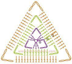 square de croche em formato de triangulo - Pesquisa Google