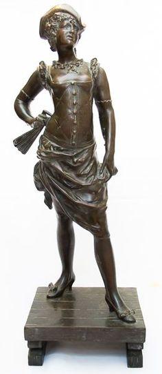 Estatua de bronze assinada pelo artista francês Alfred Pierre Richard. Séc - XIX. Dama da corte .