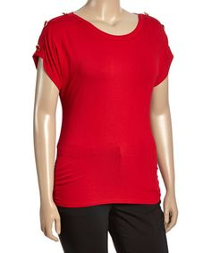 Look what I found on #zulily! Red Button-Accent Cap-Sleeve Top - Plus #zulilyfinds