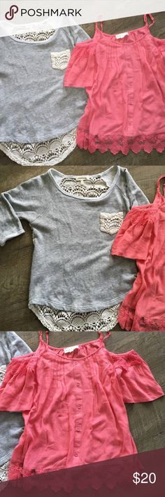 ADORABLE BUNDLE Two for the price. The grey shirt is too cute with a crochet Back and pocket. And is a Monteau of Los Angeles. Both shirts are sized small. The pink shirt has cut out shoulders and a lace bottom and is a Sweet Journey. Sweet Journey and Monteau of Los Angeles  Tops