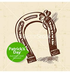 St patricks day background with hand drawn sketch vector - by pimonova on VectorStock®