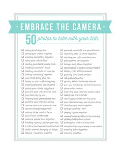 50 Photos to Take with Your Kids // How often do you get out from behind the camera and in photos with your kids? Give you and your kids a gift this Mother's Day that you'll enjoy for years to come & get in a photo or two!