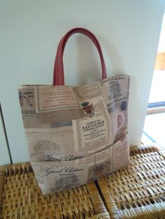 "handbag in tessuto stampa ""red wine"" manici in pelle http://elbichofeo.blogspot.com"