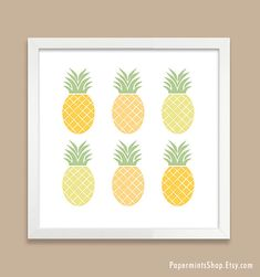 Pineapple Print Ombre Pineapple Art Print by papermintsshop