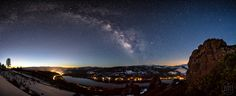 """""""Milky Way Above Donner Lake 2"""" - Night time stitched panoramic photograph of the Milky Way above Donner Lake and Truckee, California."""