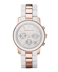 Michael Kors Two-Tone Silicone Watch, Rose Gold/White.