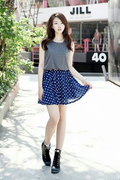 Blue polka dot skirt + grey shirt