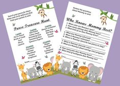 Eight Adorable Baby Safari Animal Themed Baby Shower Games Package (Mom/Mommy version)  (For the Mum/Mummy version click here: https://www.etsy.com/listing/250548445/8-baby-safari-animal-baby-shower-games?ref=shop_home_active_1 )  What is cuter for a Baby Shower than baby animals?!?  ► These DIY, printable baby shower games are a perfect way to host your guests with a variety of activities. Each game is created with a beautiful, crisp white background that is gender neutral. Answer keys are…