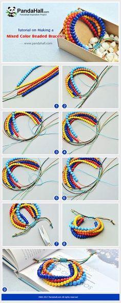 #Beebeecraft #DIY a mixed color #beaded #bracelet