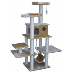 "Go Pet Club 72"" Faux Fur Cat Tree in Beige"