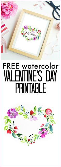 Watercolor Valentine Printable