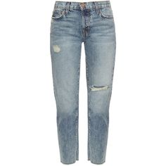 Current/Elliott The Vintage straight-leg cropped jeans (17.825 RUB) via Polyvore featuring jeans, denim, ripped straight leg jeans, straight leg jeans, blue denim jeans, mid rise straight leg jeans и mid-rise jeans