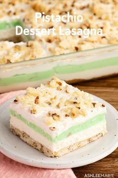Layers of whipped cream pistachio pudding no bake cheesecake and a shortbread crust make up this delicious dessert lasagna Mini Desserts, Layered Desserts, Easy Desserts, No Bake Desserts, Delicious Desserts, Yummy Food, Plated Desserts, Fun Food, Good Food