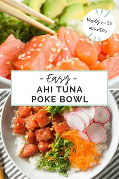 Love sushi? Then you'll love this easy-to-make and popular Hawaiian food - poke! This poke bowl recipe made with ahi tuna is simple, delicious and authentic - the perfect gluten free 30 minute meal idea. #30minutemealideas #glutenfreerecipes #hawaiianfood Best Gluten Free Recipes, Gluten Free Recipes For Dinner, Allergy Free Recipes, Dinner Recipes, Herb Recipes, Fun Recipes, Seafood Recipes, Paleo Recipes, Ahi Tuna Poke