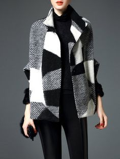 Wool Blend Casual Half Sleeve V Neck Cape