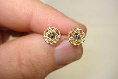 Vintage Krementz Designer Signed Sapphire and Filigree Gold Filled Earrings  #Krementz #Stud