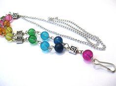 Beaded lanyard Rainbow key or badge holder by SunshineDaydreamz, $15.00
