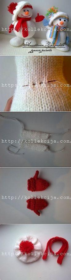 Вязаный Снеговик спицами   Своими руками — интернет журнал