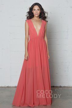Perfect Sheath-Column V-Neck Natural Floor Length Chiffon Sleeveless Zipper Pleating #PR17022 #cocomelody #bridesmaiddress