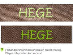 Ljusbrun bandfärg och äppelgrön textfärg http://labelsandribbon.se/vavda-namnband-namnlappar-etiketter/standard