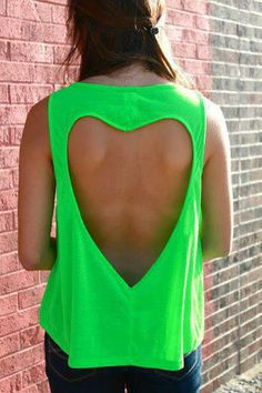 Neon neon neon love heart t-shirt.  This can easily be done on any t-shirt. Cut out a heart and hem edges.