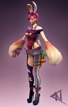 VI, Battle Bunny (League of Legends Fanart) WIP, Elisa Galindo García on ArtStation at https://www.artstation.com/artwork/lz3xG