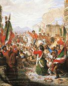 Arrival of Garibaldi in Naples September 7, 1860, by Antonio Licata (1810-1892), gouache on paper. Expedition of the Thousand, Italy, 19th century. (http://www.gettyimages.com/detail/illustration/arrival-of-garibaldi-in-naples-september-7-by-antonio-stock-graphic/163234853)