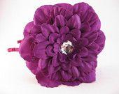Purple flower headband, women girls headbands, big floral head piece, wedding day accessories, photo prop, rhinestone center