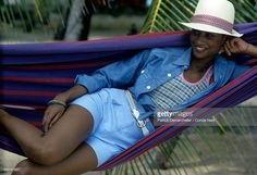 News Photo : Model Beverly Johnson, lying in a hammock,...