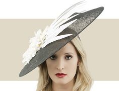 WILLA - Make A Stunning Entrance To A Special Event In This Headpiece. Sinamay Disc Fascinator Hat with Silk Rose and Goose Feathers.